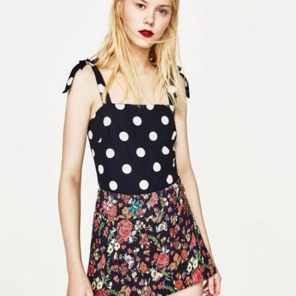 Zara Tops - [Zara] Navy with White Polka Dot Bodysuit